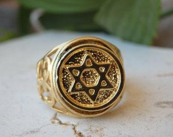Star of david ring, Gold filled ring, Magen david ring, Jewish judaica jewelry, Jewish star ring, Filigree ring, Women's Men's Signet Ring