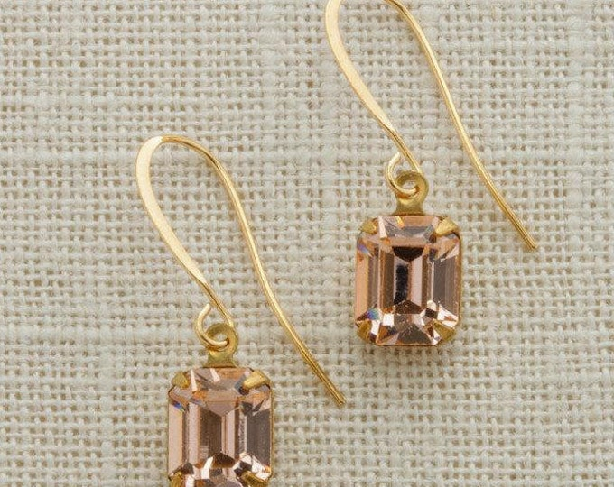 Blush Pink Crystal Earrings Gold French Hook Emerald Cut Stone Rhinestone Wedding Earrings Bridesmaid Gift Handcrafted USA 10mm 6H