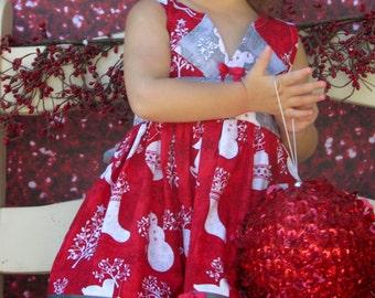 """Girls Christmas Dress """" Noel """"  Children's 2T, 3T, 4T, 5, 6, 7, 8, 10"""