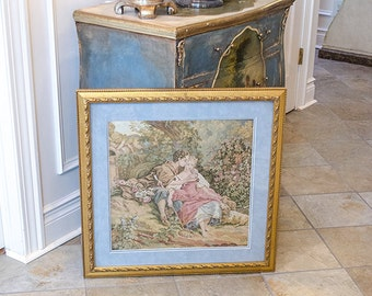 SALE!! 50% OFF!! Vintage French Tapestry, Romantic, Sheep, Cherubs, Framed, Matted Under Glass