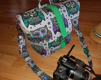 New-Camera bag-Digital SLR camera bag-Dslr camera case-purse-womens camera bag-Extra Bonus-Strap cover-360 OWLS