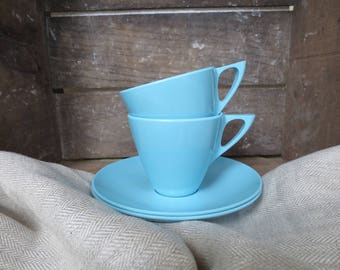 Vintage Marcrest Melmac Cup Saucer Melamine Blue Aqua Turquoise Coffee Tea Cup Made USA Mar-Crest Camping Picnic Dishes Plastic Mid-Century