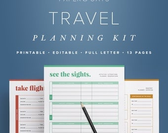 Travel Planning Kit – Vacation Planner, Travel Planner Printable, Travel Itinerary, Vacation Packing, Trip Organizer, Packing List PDF