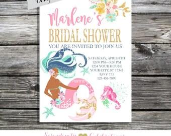 Mermaid Bridal Shower Invitation, Mermaid Birthday Invitation, Mermaid Party, Mermaid Baby Shower Invite, Under the Sea, Mermaid Invitation
