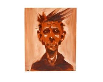 oil painting old man portrait outsider amateur art quirky kitsch home decor portait of man monochrome study 14x18 orange brown wall decor