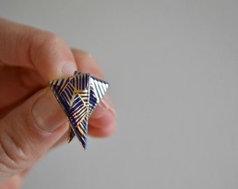 Night blue - triangle stud post earrings - porcelain and gold jewelry - geometric porcelain earrings