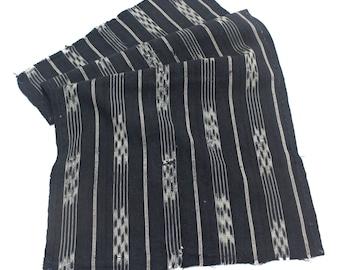 Japanese Vintage Kasuri Ikat. Woven Indigo Cotton Scrap. Traditional Folk Fabric. (Ref: 1770)