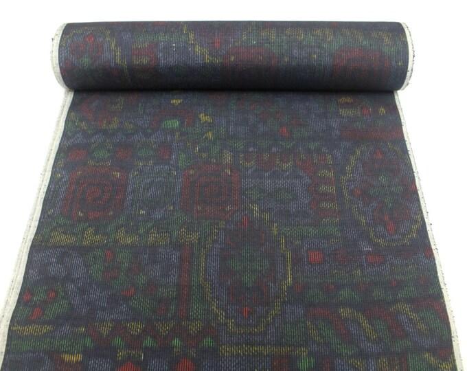 Vintage Japanese Ikat Silk. Tsumugi / Pongee. Artisan Kimono Fabric. Modern Black Multi Design (Ref: 1553)