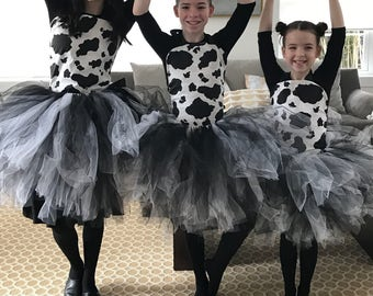 Cow tutu costume 2 pc Costume set Great for Halloween, birthdays, photo props, costumes, dance, pageants, barnyard birthday parties