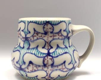 Handmade Wheel Thrown Ceramic Mug with Heather Blue, Turquoise and Purple Pattern
