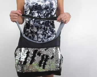 Mermaid sequin purse silver and black sequins black faux leather. choose medium or large purse. shoulder strap or crossbody bag.