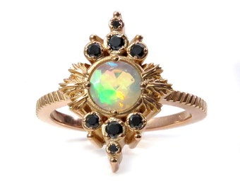 Faceted Opal Anniversary Ring with Black Diamond Drips - Rose Gold Pyre Right Hand Ring