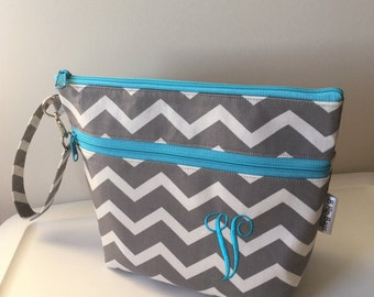 Deluxe Diaper Clutch Changing Pad Bag Set Chevron Grey Turquoise/Baby Shower Gift/Monogram