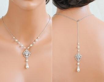 Crystal Bridal Necklace, Swarovski Pearl Wedding Necklace, Backdrop Necklace, Back Drop Necklace, Crystal Ribbon Bow Back Necklace, JOLENE