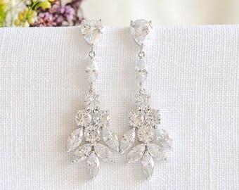 Bridal Earrings, Bridal Jewelry, Wedding Earrings, Crystal Cluster Dangle Drop Earrings, Flower Leaf Earrings, Wedding Jewelry, ODETTE