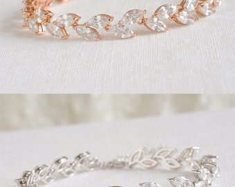 Rose Gold Wedding Bracelet, Crystal Bridal Bracelet, Marquise Crystal Tennis Bracelet, Leaf Cluster Bracelet, Bridal Wedding Jewelry, IRIS