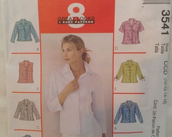 McCall's Pattern #3541 Front Button Shirt  Sizes 10 12 14 16  In Factory Fold