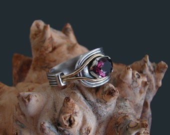 Silver spoon ring with yellow gold and burgundy spinel , asymmetrical silver and gold engagement ring