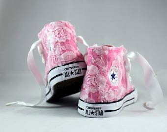 Custom Girls Converses -  Lace Converses --Bridal Converses -- Girls Converse High Top  - Wedding Converse