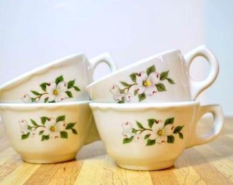 Vintage Buffalo China Dogwood Ceramic Coffee Cups: Set of 4 Diner Mugs Restaurant Ware Flat Cups