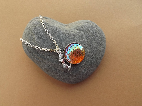 Iridescent Orange Mermaid Scale Necklace Fish Scale Shore Things by Kate Dengra Spain Beach Ocean Theme Sirena Siren