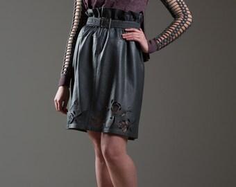 Reserved for Anita Grey leather skirt, stencil roses skirt, hand-cut stencils skirt, unique skirt, ribbon waist skirt, upcycled skirt