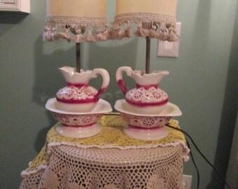 1960s Pitcher Wash Basin Lamps / Pair Ceramic Deep Dusty Rose Pitcher Lamps