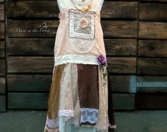 Girls  size 5 to 6 years flapper inspired rustic silk lace flower girl dress.