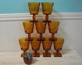 Vintage Amber Embossed Glass Stemware Glasses Set of 9 / Retro Golden Amber Pedestal Embossed Glasses