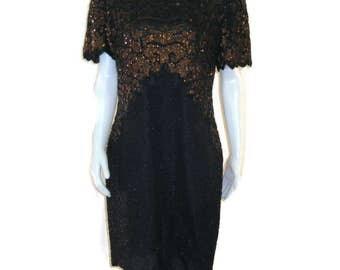 80s Black Beaded Dress  Black Bronze Cocktail Dress 1980s Formal Dress Designer Dress Lawrence Kazar Silk Beaded Dress Sequinned Dress s