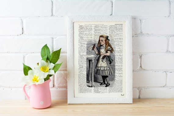 Summer Sale Alice in Wonderland Decor,Wall Print - Alice: drink me illustration wall art Print on Vintage Dictionary, gift ALW041