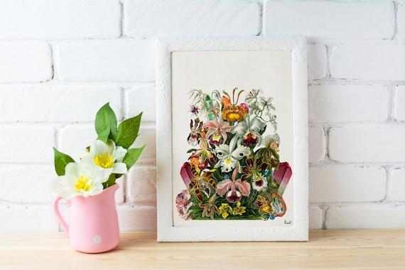 Orchids bouquet, Orchids and precious stones art Print Orchids print wall art, Stones and minerals flower art  WP218