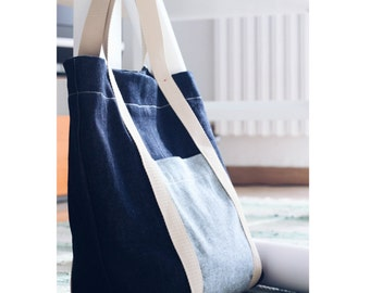 Denim tote bag with pockets, daily commuter large size tote bymamma190. Ready to ship.