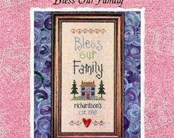 Bless Our Family Housewarming cross stitch pattern by Lizzie Kate at thecottageneedle.com new home personalized