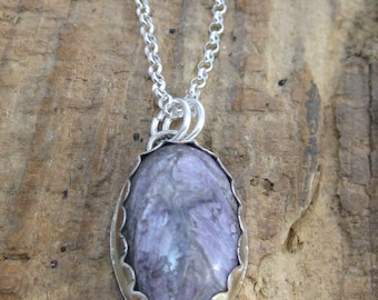 Spring Lavender Charoite Pendant Necklace // Sterling Silver // Hand Crafted // Artisan // Eco Friendly // Custom Length