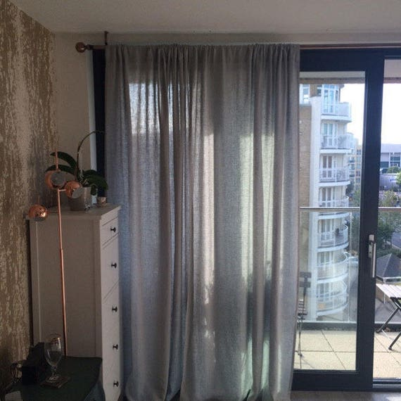 Linen curtains. Rod pocket window curtain panel. Unlined, blackout curtains or lined drapes. White linen curtains or custom color, length