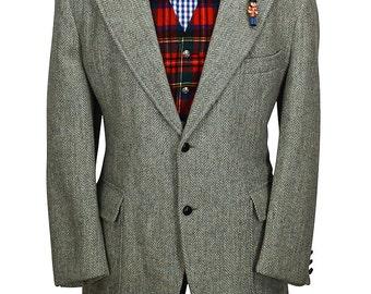 Dandy Harris Tweed 44S Gray and Green Herringbone Gentry Sport Coat