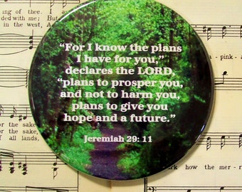 Scripture Magnet, For I Know the Plans I Have for You, Forest Path, Magnet, Jeremiah 29:11, Large Magnet, Housewarming Gift Magnet