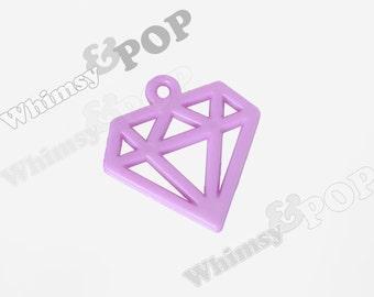 6 - Purple Cutout Kawaii Diamond Decoden Resin Flatback Charm Pendant, Diamond Pendants, 40mm x 39mm (C2-16)