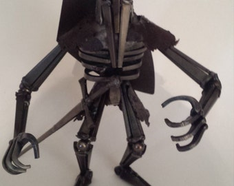 Knight Warrior, One of a Kind knight Sculpture, Creature Sculpture,  upcycled welded metal knight, sword and shield figure, knight