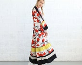 Spanish panel dress , Red print .