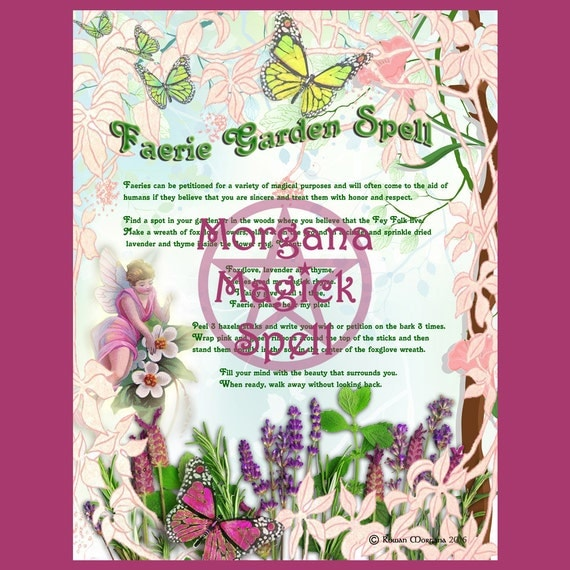 FAERIE GARDEN SPELL, Digital Download, Wishing Spell,Faerie, Book of Shadows Page, Grimoire, Scrapbook, Spells