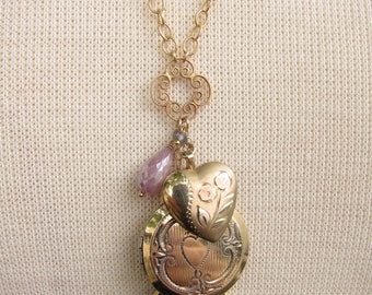 Vintage Lockets and Labradorite Necklace, Two Girls Gems