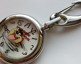 Tas Pocket Watch with Clip Tasmanian Devil Silvertone Quartz