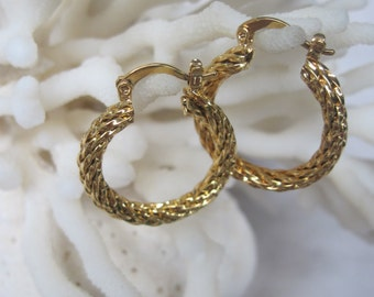 Looped Rope 18K Plated Yellow Gold Round Hoop Earrings
