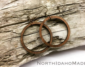 "READY TO SHIP - 1.75"" Lightweight Wood Hoop Earrings in Walnut"