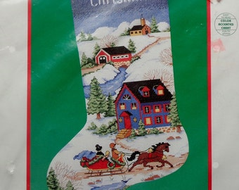 Counted Cross Stitch Kit | VILLAGE CHRISTMAS STOCKING | Carol Bryan | Dimensions