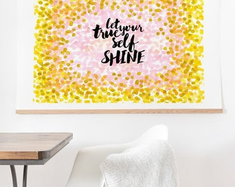 Gold pink Let Your True Self Shine ready-to-hang oversized wall art print, inspirational graduation gift, housewarming gift home wall decor