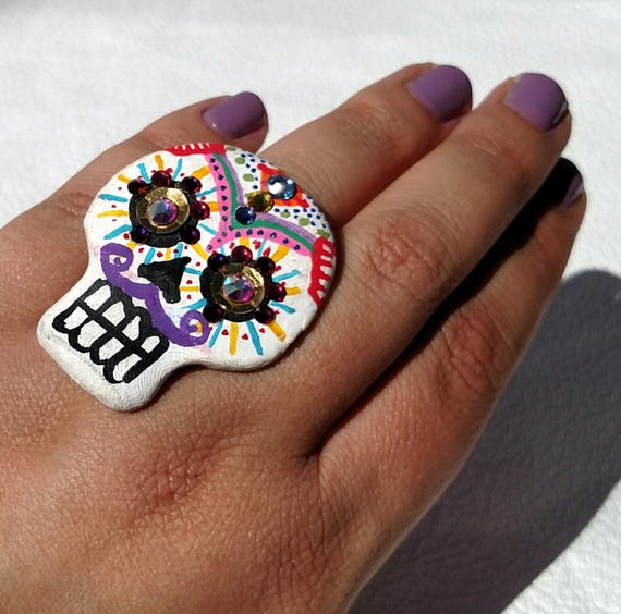 Hand Painted Day of The Dead Sugar Skull Statement Ring with Swarovski Crystals
