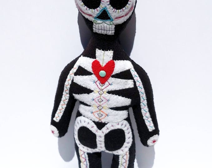 Day of The Dead Skeleton Doll - Hand Sewn One of a Kind